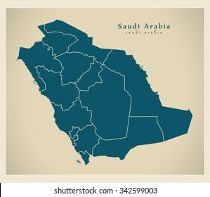 Modern Map - Saudi Arabia with regions SA