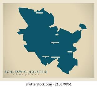 Modern map - Schleswig Holstein