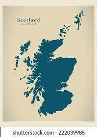 Modern Map - Scotland UK