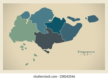 Modern Map - Singapore with regions SG
