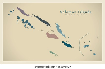 Modern Map - Solomon Islands with provinces colored SB