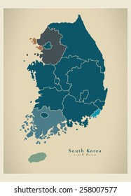 Modern Map - South Korea with regions KR