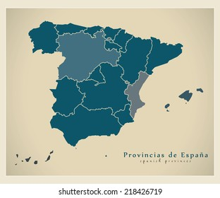 Modern map - Spain map with provinces ES