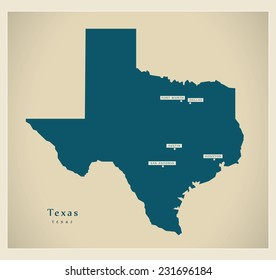 Modern Map - Texas USA