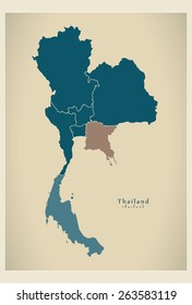 Modern Map - Thailand with regions TH