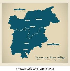 Modern map - Trentino-Alto Adige IT