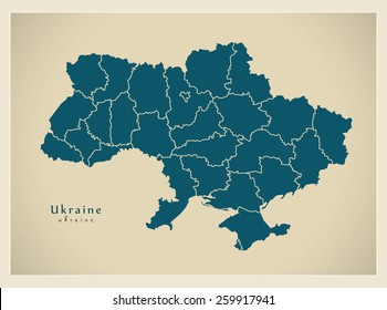 Modern Map - Ukraine with regions UA
