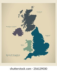 Modern Map - United Kingdom UK