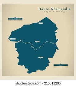 Modern map - Upper-Normandy FR