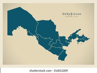 Modern Map - Uzbekistan with provinces UZ