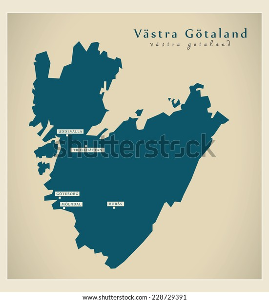 Modern Map Vastra Gotaland Se Stock Vector Royalty Free 228729391