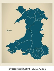 Modern Map - Wales with regions UK