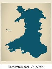 Modern Map - Wales UK