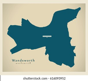Modern Map - Wandsworth borough Greater London UK England