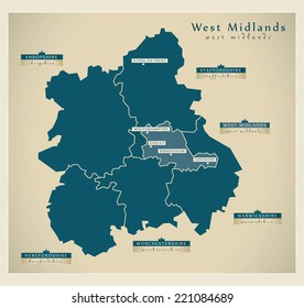 Modern Map - West Midlands UK