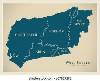 Modern Map - West Sussex county with district captions England UK illustration