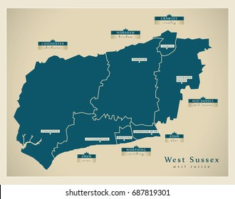 Modern Map - West Sussex county with district labels England UK illustration