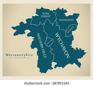 Modern Map - Worcestershire county with district captions England UK illustration
