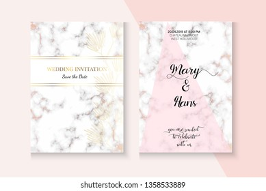 Modern Marble Rose Gold Wedding Invitation. Minimal Foil Template. Polygon Border Set. New Year, Music Party, Cosmetics Vector Layout. Rose Gold Wedding Invitation Marble Texture Card Template
