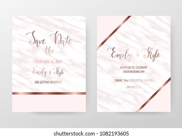 Modern marble wedding invitation templates with rose gold lines and pink triangles.