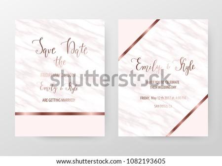 modern marble wedding invitation templates rose のベクター画像素材