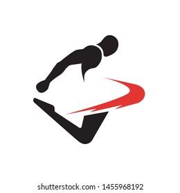 Modern martial arts sports kicking action logo