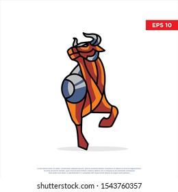 modern mascot bull logo. simple icon, template design