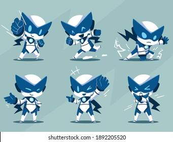 modern mascot robot super hero character set