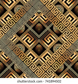 Modern meander seamless pattern. Abstract black gold greek key background. 3d wallpaper. Geometric trendy ornament, shapes, rhombus, frames, zigzag figures. Ornate design.Luxury surface vector texture
