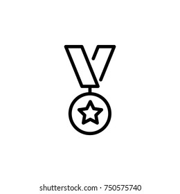 Modern medal line icon. Premium pictogram isolated on a white background. Vector illustration. Stroke high quality symbol. Medal icon in modern line style.