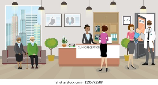 Modern medical clinic reception interior with furniture.African american woman receptionist and patient queue.Flat style vector illustration