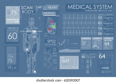Modern medical examination in HUD style design. Ultrasound and cardiogram. Futuristic Medical Interface, virtual graphic touch UI with illustration of Heart Scan, Human Body and Electrocardiogram.