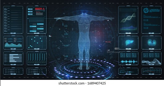 Modern medical examination HUD, UI, GUI style. Human body scan  Anatomy, ECG monitor, Dna formula. element medical examination. Display set virtual interface elements. Modern medical examination style