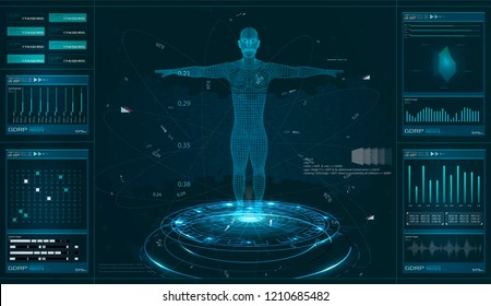 Modern medical examination, style HUD. A futuristic medical infographics, a virtual body scanning interface with heart, human body and electrocardiogram illustrations. Futuristic user interface