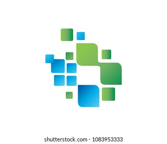 Modern Medical Health Care Technology Solution Logo In Isolated White Background