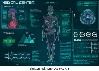 A modern medical interface for monitoring human scanning and analysis, HUD style. Futuristic user interface. Abstract virtual graphical user interface for medicine. HUD for motion design. gui elements