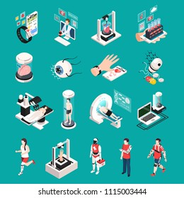 Modern medical technology isometric icons set with organs 3d printing transplantation nanorobots electronic devices isolated vector illustration