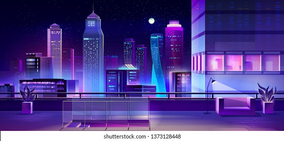 Modern megapolis at night. Illuminated cityscape view from skyscraper roof. Bright glowing neon buildings. Urban background, town architecture, residential construction. Cartoon vector illustration.