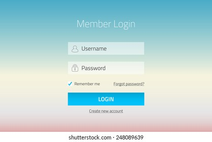 Modern member login website form with transparent effect