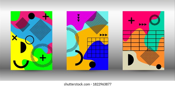 Modern memphis background set covers, great design for any purposes. Colorful trendy illustration.  Colorful geometric background design. Creative vector banner illustration. - Shutterstock ID 1822963877