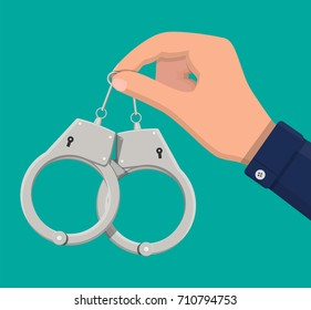 Modern metal handcuffs in hand of police officer. Concept of safety, security, justice and law. Vector illustration in flat style