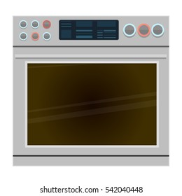 Modern metal oven with big display. IoT stove with regulators and switches. Flat style vector illustration.