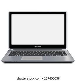 Modern metallic laptop computer with blank white screen. Vector illustration.