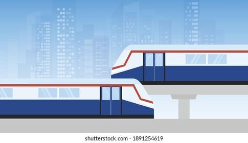 Modern metro train in mass transportation vector illustration