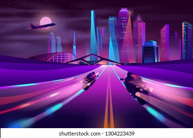 Modern metropolis highway cartoon vector in neon colors with two biker on sport motorcycles racing on road, riding with high speed, leaving light traces behind illustration. City nightlife background