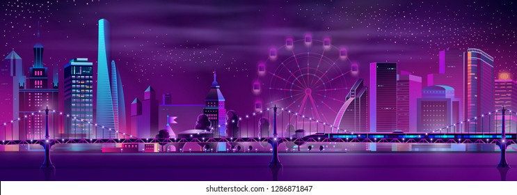Modern metropolis nightlife cartoon vector panoramic background in neon colors. Illuminated skyscrapers buildings, Ferris wheel, high speed subway train moving on bridge over river or bay illustration