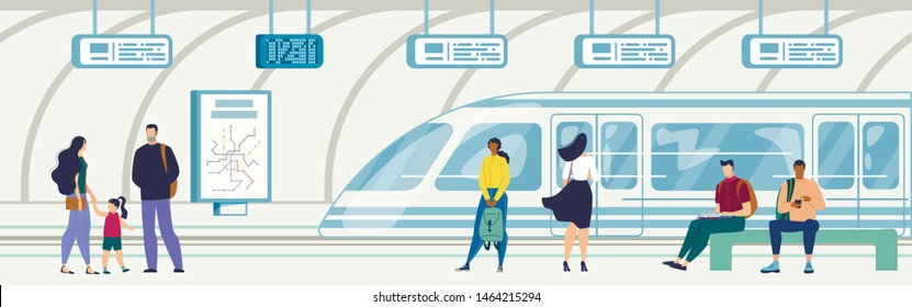 Modern Metropolis Public Transport System Element, City Passengers Transportation Flat Vector with People Sitting on Bench, Waiting for Train on Subway or Railroad Underground Station Illustration