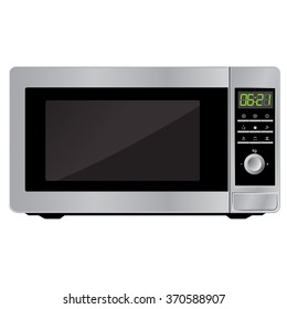 Modern microwave. Front view. Metal and glass. Vector Image. Realistically. Isolated on white background.