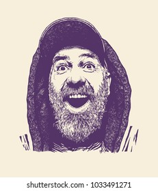 A modern middle-aged man, with a gray beard, wearing a cap and a hood. Happy, enthusiastic and surprised. retro engraving style. vector illustration.