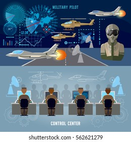 Modern military center banner. Military plane, helicopter. Radar screen with planes air force pilot. Modern army technology